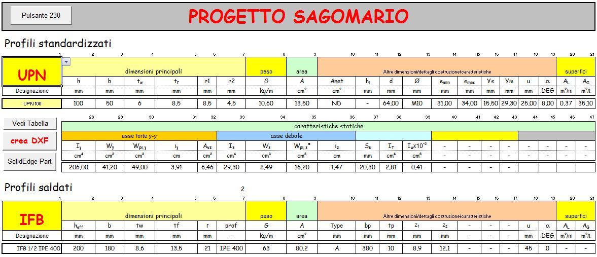 Sagomario Profili Acciaio Foglio Excel L Angolo Dell Ingegnere